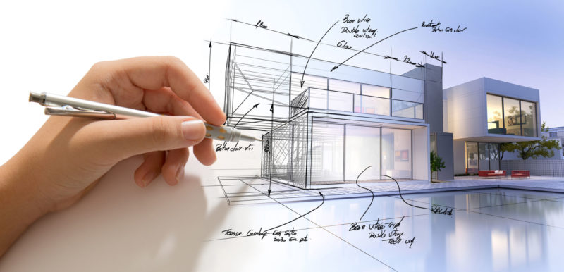 65377666 - hand drafting a design villa and the building becoming real